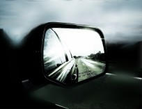 black and white rearview mirror image, blurry background