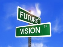 Two street signs, one says 'Future Ave' and the other says 'Vision St'