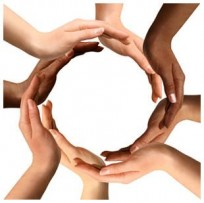 multi-ethnic-hands forming a circle