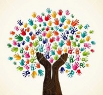 Tree of Life graphic made of colorful handprints