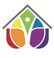 The Lucie's Place logo is an abstract house and heart. A simple upside down V suggests a roof with various shapes in the rainbow colors fill in the house with an inverted heart and or tear.