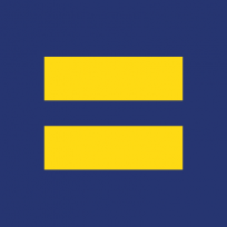 The Human Rights Campaigns' log is a simple, but elegant and effective representation of the group's battle for equality. It is a dark blue square with la large deep yellow equal sign.