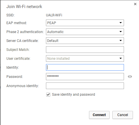 Example Screen of WiFi Configuration
