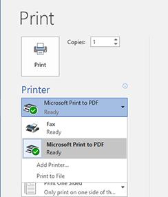 Word Print Screen