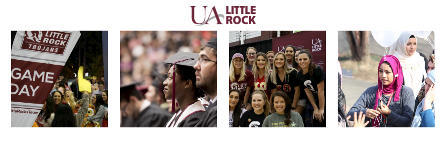 heading graphic includes for photos of students and the UA Little Rock logo