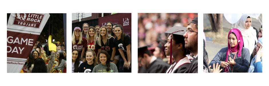 graphic with four photos of students from campus events