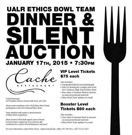 Support the Ethics Bowl Team Dinner and Silent Auction on January 17th at 7:30 pm.