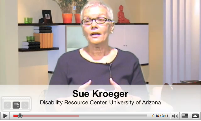 Sue Kroeger, Disability Resource Center, University of Arizona, still from PACE video