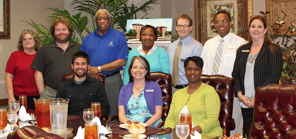 DRC Group Picture - Back row: Betsy Domingue, Justin Hicks, Dr. Charles Donaldson, Kimya Herd, Reed Claiborne, Dr. Logan Hampton, Katie Becker. Front row: Alvin Haas, Sharon Downs, Connie Wordlaw