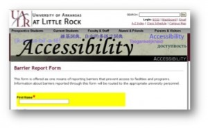 screen shot of UALR accessibility website