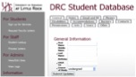 screen shot of new student database