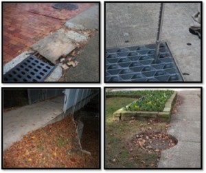 Images of physical hazards on the UALR campus