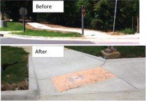 Images showing before curb cut and after