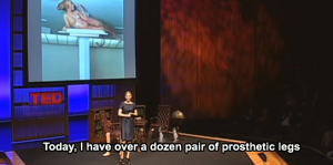 "Aimee Mullins TED Talk with captions ""Today I have over a dozen pair of prosthetic legs."""