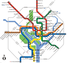 Transit map showing routes in red, blue, green and orange
