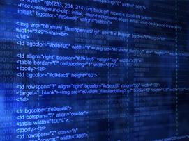 Blue computer screen showing HTML code