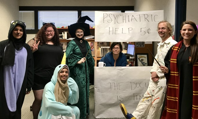 Office Halloween with students CROPPED