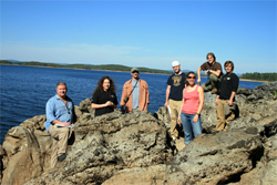 7 members of Earth Sciences Class on rocks