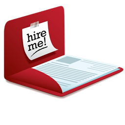 hire me icon of resume in a red folder
