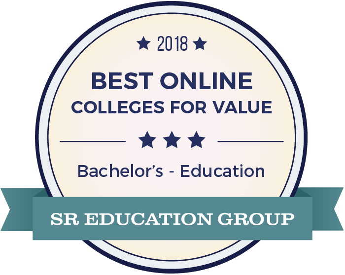 SR Education Group badge for 2018 best online colleges for value bachelor's in education.