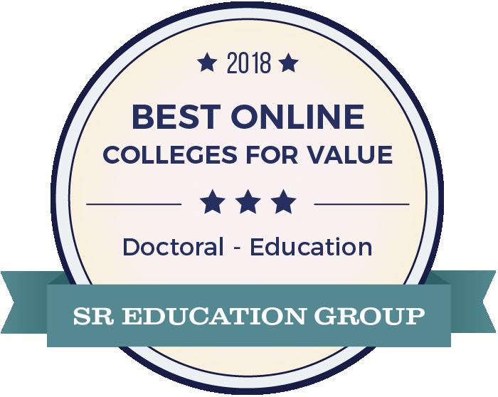 SR Education Group badge for 2018 best online colleges for value doctoral in education.