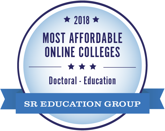 SR Education Group badge for 2018 most affordable online colleges doctoral in education.