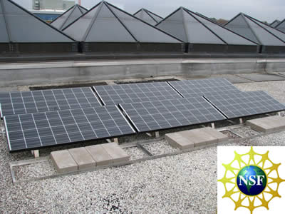 Solar panels on the roof of the ETAS building