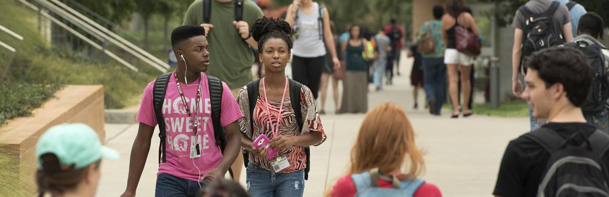 Students walk on the University of Arkansas at Little Rock campus