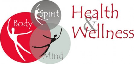 Grey and burgundy graphic with the words Health & Wellness on the right and bubbles on the left with the words spirit, mind, and body