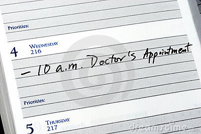 page in a calendar showing doctor appointment at 10 a.m.