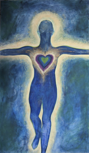 "Photo of original painting entitled ""Mary"" by Libba Davis Sandusky. ""Mary"" is a faceless female body surrounded by a yellow glow and a heart in the middle of her chest."