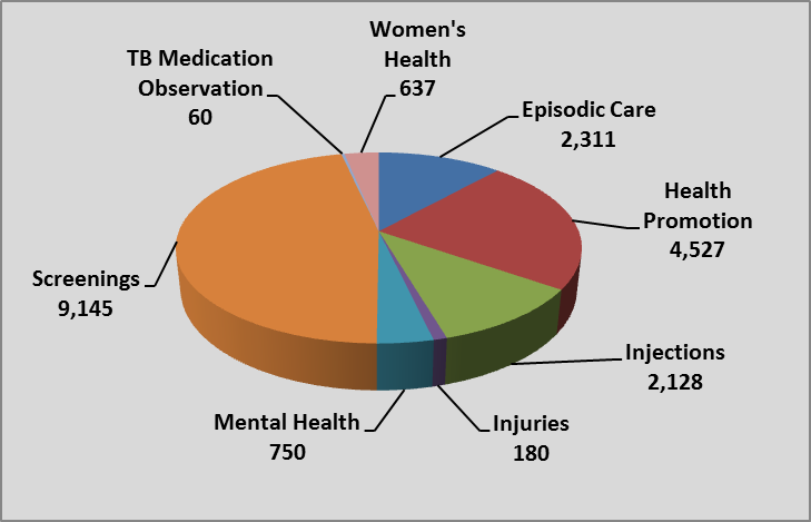 pie chart displaying break down of services provided during the fiscal year 15-16