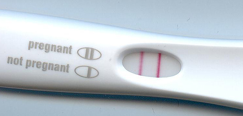 Photo of pregnancy test showing 2 pink lines