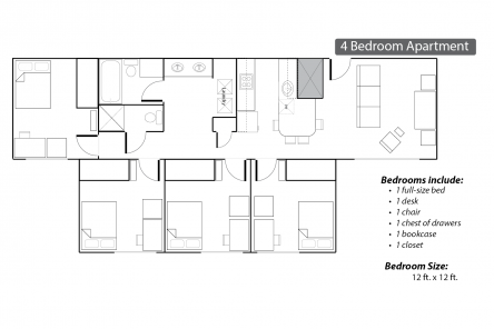 Commons Apartments four bedroom floor plan