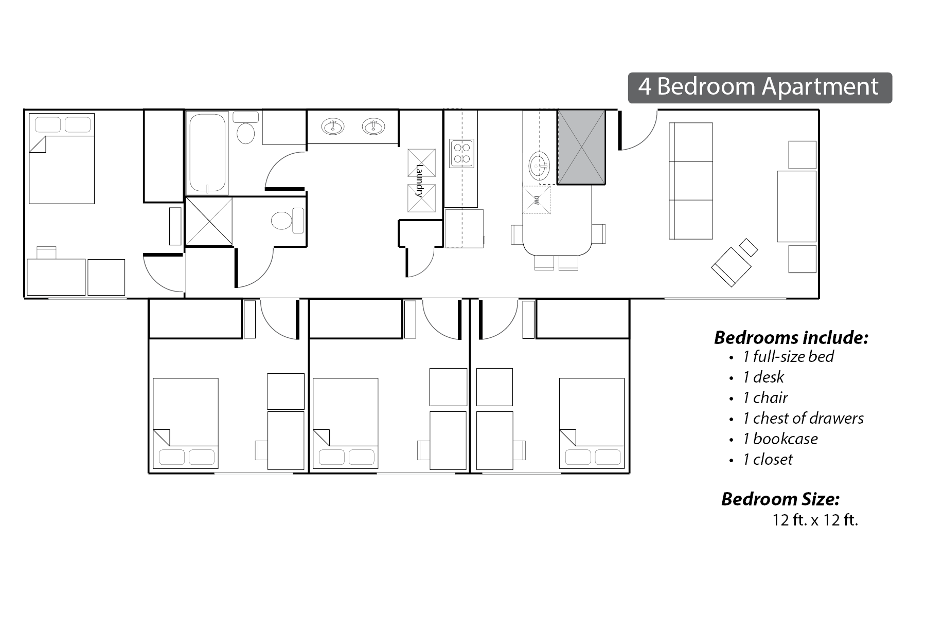 commons apartments four bedroom floor plan