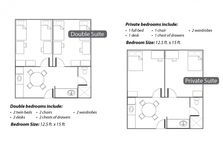 East Hall room floor plans