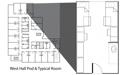 West Hall room floor plan