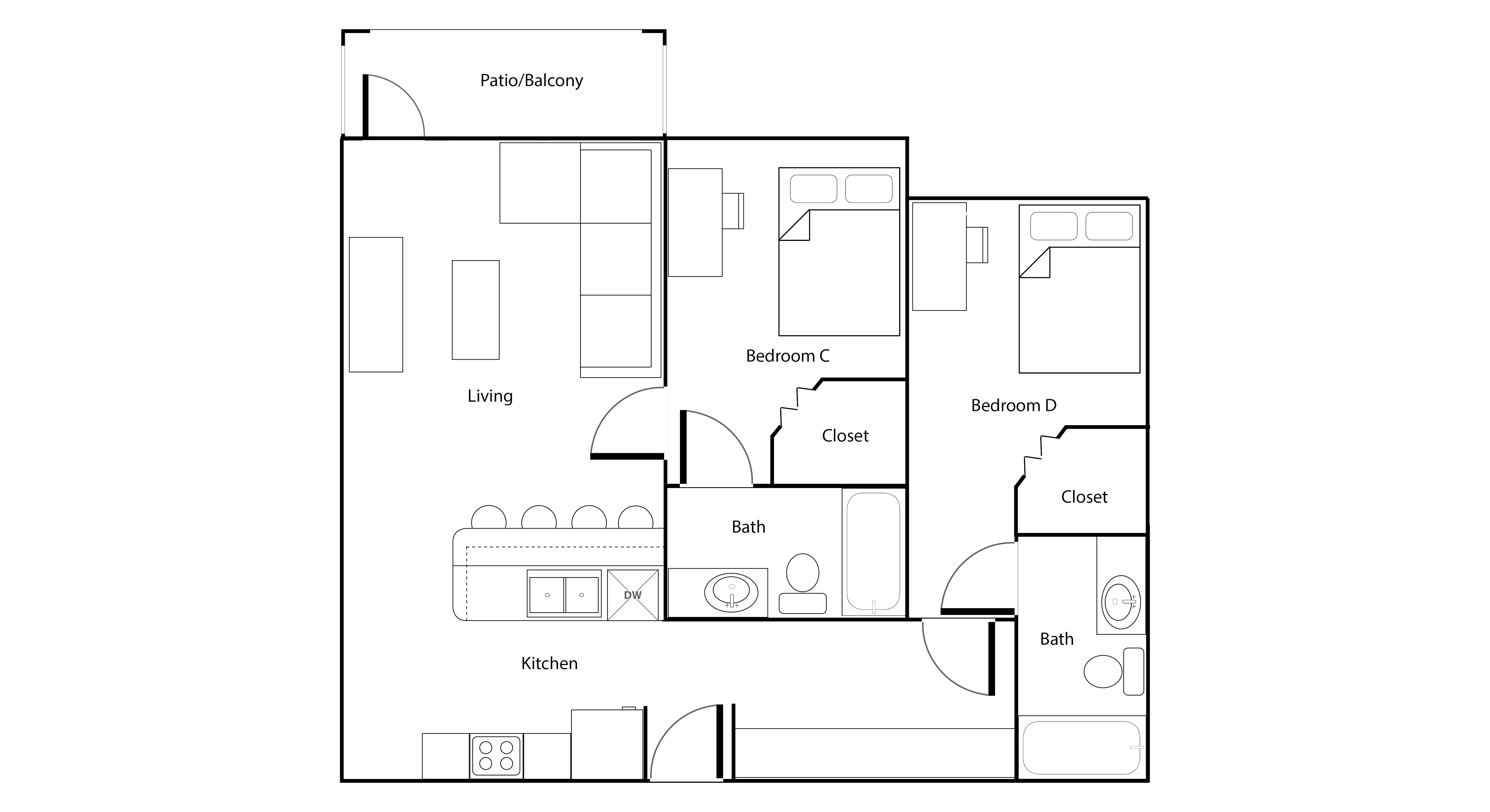 university village campus living university village four bedroom apartment floor plan