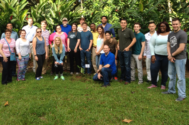 Spring Break 2015 Costa Rica - group photo around the tree planted at Earth University