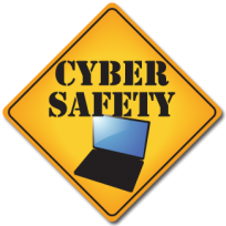 """Image of a yellow yield traffic sign that contains a photo of a laptop computer and the words """"CYBER SAFETY'."""