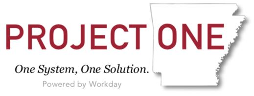 Project One in red text, with the word One over an outline of Arkansas and the tag line: One System, One Solution. Powered by Workday.