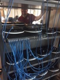 A network closet at UA Little Rock