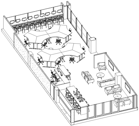 The planned layout of the new IT lab. Coming through the existing doors, two collaboration areas are on the right, and a bar-height table with workstations is on the left, with the customer counter further back. The back half of the lab is taken up by two large groupings of workstations, and the back wall has another bar-height table with workstations facing out the windows.