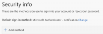 A screenshot of the My Security Info dashboard with the Default sign-in method example of Microsoft Authenticator