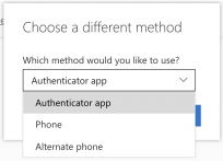 A screenshot of the Choose a different method drop-down, with Authenticator app, Phone, and Alternate phone as options.