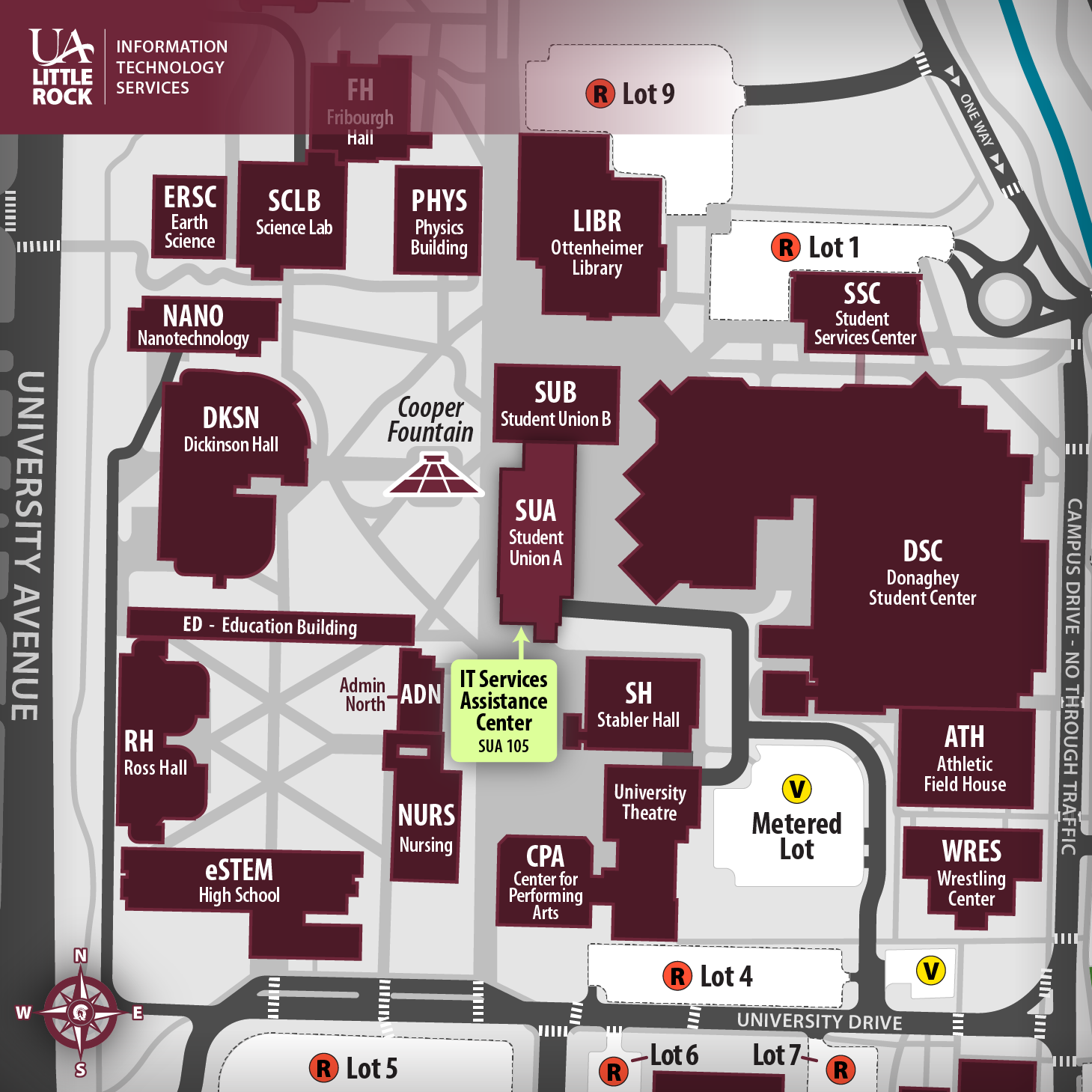 Map of the center of the UA Little Rock Campus, highlighting the location of IT Services Assistance Center in the Old Donaghey Student Union A (SUA), Room 105.