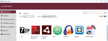 A screenshot of the Software Center main catalog view displays a list of available applications.