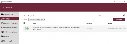 """A screenshot of the Software Center updates page.  One pending update titled """"2020-08 Cumulative update for Windows"""" is listed."""