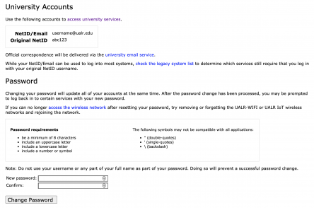 Screenshot of the password reset page in BOSS