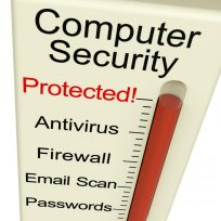 """Image of a thermometer with """"Computer Security' printed at the top. Instead of numbers, it displays the words from top to bottom: Protected!, Antivirus, Firewall, Email Scan, and Passwords. The vertical red liquid scale display it is at the top next to Protected! indicating the com;uter is fully protected."""